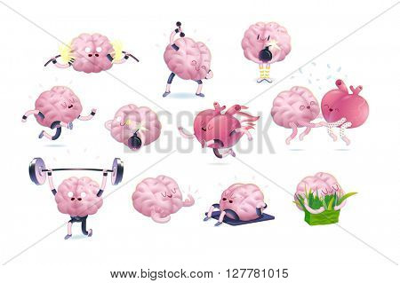 Brain stickers set, cartoon vector isolated images, a part of Brain collection