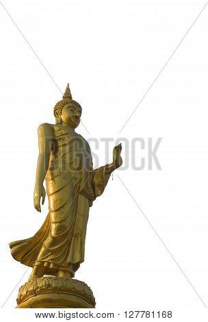 Isolated golden buddha statue Roi Et Thailand