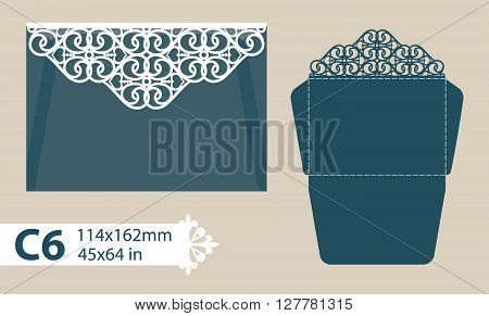 Layout congratulatory envelope with carved openwork pattern. Template is suitable for greeting cards invitations etc. Picture suitable for laser cutting plotter cutting or printing. Vector