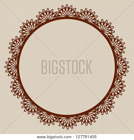 Abstract round frame with swirls. Pattern is suitable for greeting cards invitations design interiors etc. Template suitable for laser cutting plotter cutting or printing. Vector. Easy to edit.