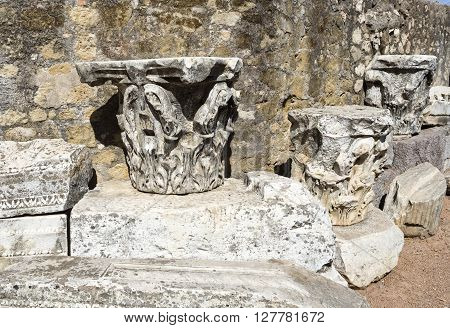 Detail of the capitals of the Corinthian order roman temple in Cordoba Spain