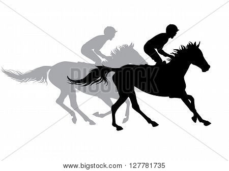 Two jockeys riding horses. Horse races. Competition. Silhouettes on a white background.