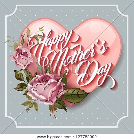 Happy Mothers Day vintage Typographical Lettering Greeting card