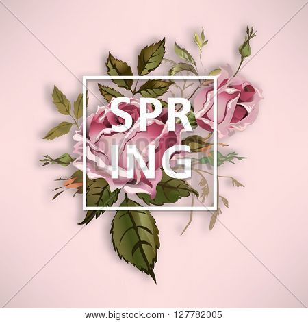 Spring text vintage illustration with old fashioned rose bouquet