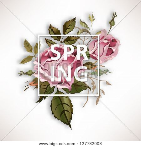 Spring vintage illustration with old fashioned rose bouquet
