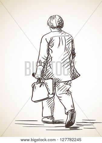 Sketch of walking woman back view Hand drawn illustration