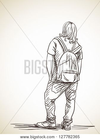 Sketch of long-haired man standing with backpack Back view Hand drawn illustration