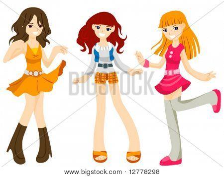 Dancing Girls - Vector