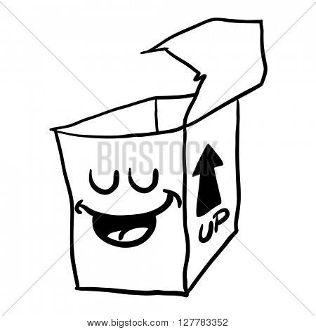 black and white happy freehand drawn cartoon empty box illustration