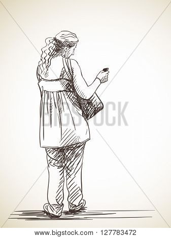 Woman using smart phone, Hand drawn illustration, Vector sketch