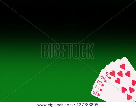 Straight Flush  cards on the poker table . casino concept