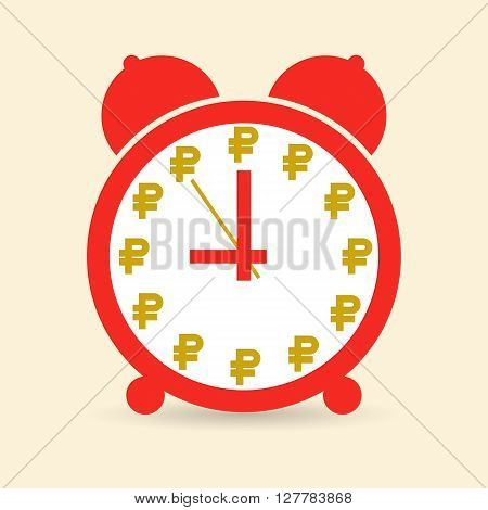 Business concept: Time is money. Vector image. Red alarm clock which instead of numbers ruble signs.