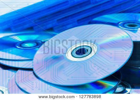 Closeup Compact Discs (cd/dvd) With The Circuit Board
