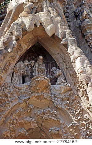 BARCELONA, SPAIN - AUGUST 3, 2015: Sculptures of Sagrada Familia - the amazing catholic church designed by great architect Antoni Gaudi