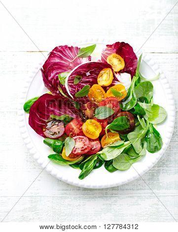 Cherry Tomato, Chicory and Corn Lettuce Salad