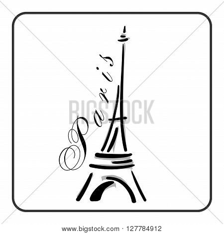 Eiffel Tower in a simple sketch style. Big famous symbol of Paris France romantic love. Doodle french art. Landmark architecture hand draw. Isolated contour on white background. Vector illustration