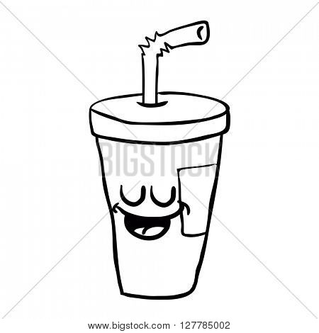 black and white happy freehand drawn cartoon soda illustration