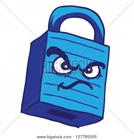 angry blue lock cartoon illustration