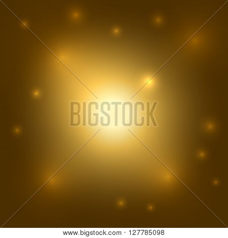 Gold background. Light yellow burst. Golden bling shine. Glitter sparkle and glowing orange circles stars. Decorative template for holiday christmas. Graphic design hot effect. Vector illustration.