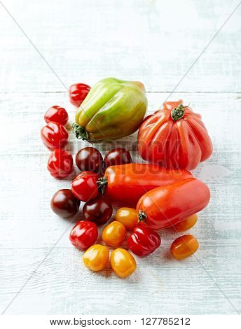Various types of colorful tomatoes