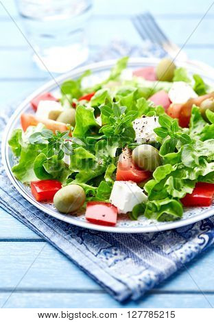 Green Vegetable Salad with Lettuce, Tomatoes, Pepper, Olives and Feta