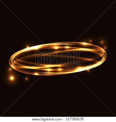 Gold circle light tracing. Glowing magic fire ring trace. Sparkle swirl trail effect on black background. Bokeh glitter round ellipse line with flying sparkling flash lights. Vector illustration.