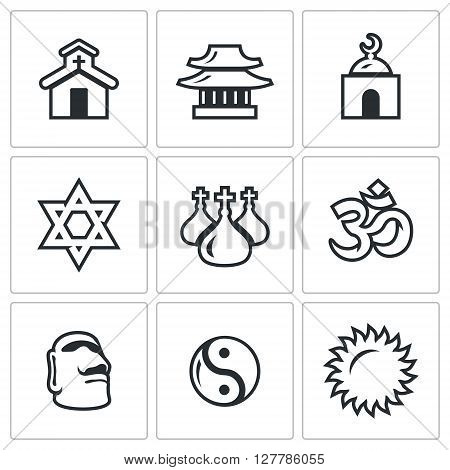 Vector Set of Religion Icons. Catholic, Buddhism, Islam, Judaism, Christianity, Hinduism, Idolatry, Taoism, Paganism.
