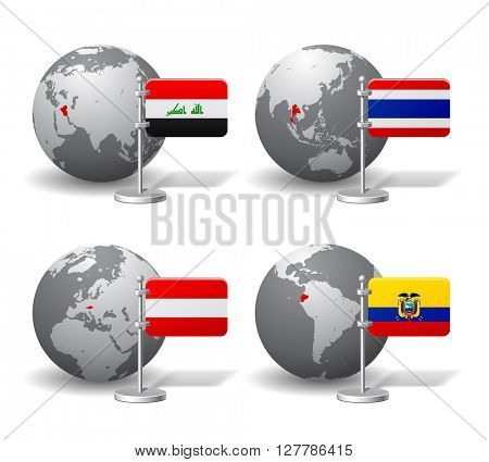 Gray Earth globes with designation of Iraq, Thailand, Austria and Ecuador, with state flags. Vector illustration
