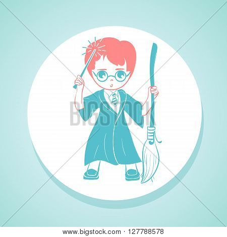 Cartoon boy in wizard costume anime vector in flat style