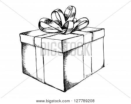 Gift box with ribbon. Hand drawn vector stock illustration