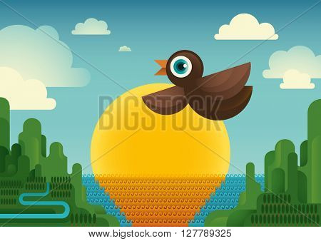 Bird in the nature. Vector illustration.
