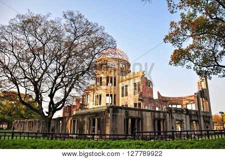 The Atomic Dome ex Hiroshima Industrial Promotion Hall destroyed by the first Atomic bomb in war
