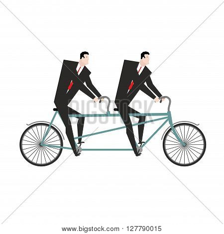 Businessman Cycling. Business Team Goes On Bike Tandem. Manual Management Of Project. Two Managers I