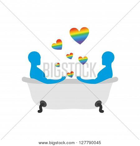 Gays In Bath. Two Men In Bath. Lgbt People Taking Bath. Joint Bathing. Passion Feelings Among Lovers