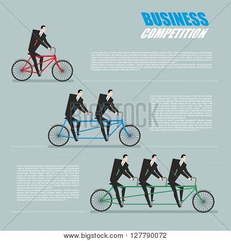 Business Competition. Managers On Bike. Business Team Goes On Tandem. Infographics About Corporate