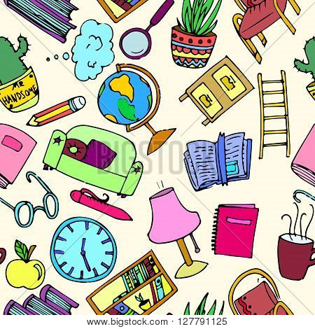 Library background seamless pattern. Hand drawn vector stock illustration