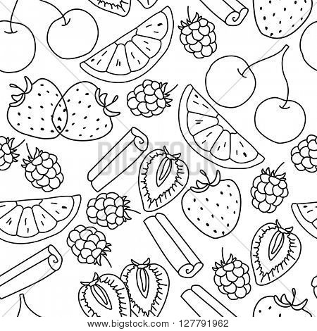 Stylized seamless pattern with  fruits. Contour,black and white. Endless texture for your design, restaurant and cafe menu.