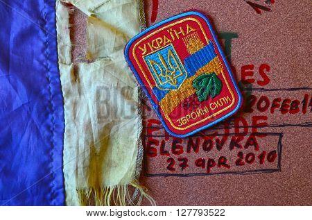 ILLUSTRATIVE EDITORIAL.Chevron of Ukrainian army. At April 30,2016 in Kiev, Ukraine
