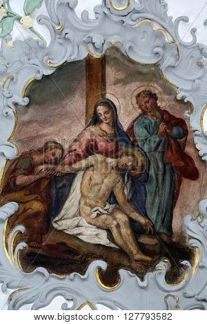 ROSENBERG, GERMANY - MAY 06: Jesus' body is removed from the cross, Way of the Cross, fresco on the ceiling of the Church of Our Lady of Sorrows in Rosenberg, Germany on May 06, 2014.