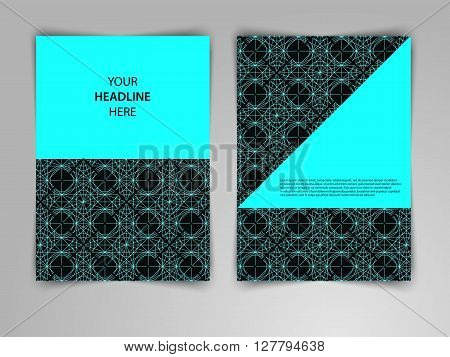 Abstract dark geometric design with interweaving of thin lines. Black and gold vector template layout in mono line style for magazine brochure flyer booklet cover annual report in A4 size.