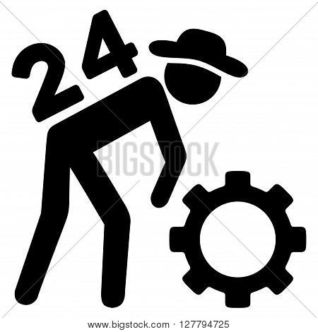 Nonstop Working Person vector icon. Style is flat icon symbol, black color, white background.