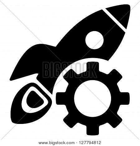 Rocket Development vector icon. Style is flat icon symbol, black color, white background.