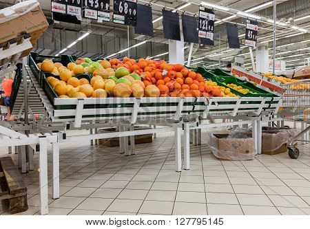 SAMARA RUSSIA - MAY 30 2015: Fresh fruits ready for sale in Auchan Samara Store. French distribution network Auchan unites more than 1300 shops