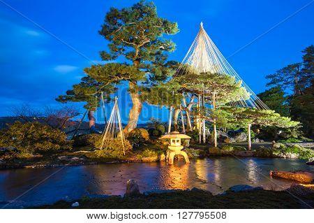 Night At Kenroku-en Garden In Kanazawa, Japan