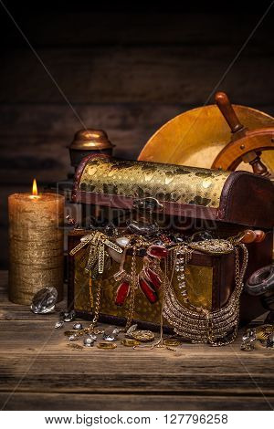Chest With Golden Jewelry