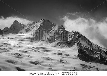 Black And White Glacier In Winter
