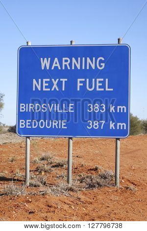 Warning Next Fuel sign, Outback Queensland, Australia