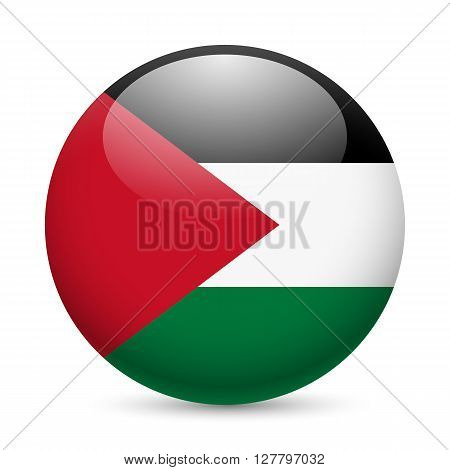 Flag of Palestine as round glossy icon. Button with Palestinian flag