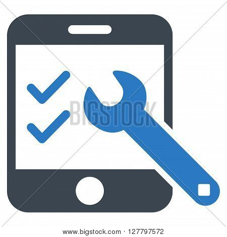 Smartphone Options vector icon. Style is bicolor flat icon symbol, smooth blue colors, white background.