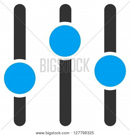 Equalizer vector icon. Style is bicolor flat icon symbol, blue and gray colors, white background.